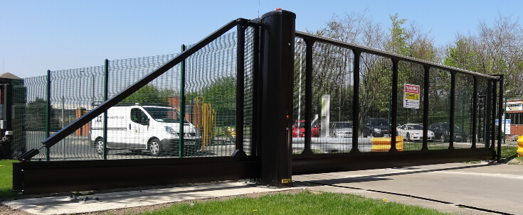 Black Sliding Cantilever Gate