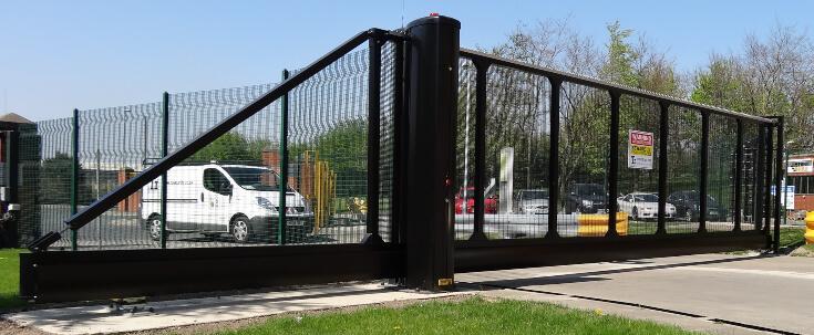 Black Sliding Cantilever Gate