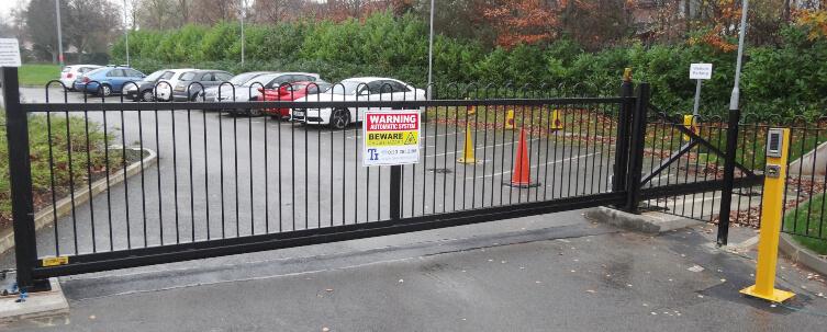 Black staff car park gate